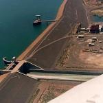 Vista aérea obras principales en presa Embalse Casa de Piedra